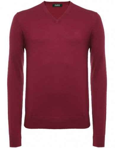 Farhi by Nicole Farhi Men's Sweater Red V-Neck Knitted Jumper XXL