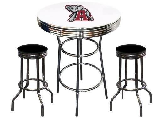 3 Piece Alabama Crimson Tide Logo Themed Chrome Finish White Pub Table w/ 2 Black Vinyl Bar Stools