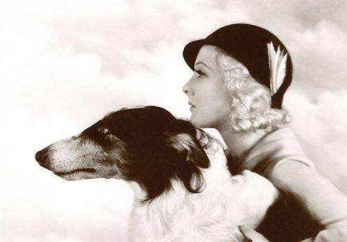 1935 Vintage Blonde Modell Mit Barsoi Wolfhound Hund Postkarte
