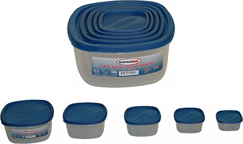 American Maid 10-Piece Square Food Storage Set in Blue Lid, Blue (The Lid Maid compare prices)