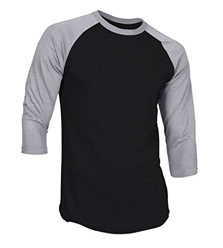 Dream USA Men's Casual 3/4 Sleeve Baseball Tshirt Raglan Jersey Shirt Black/H Gray Medium