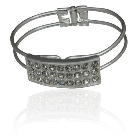 Miz EllieCostume Jewellery Glitz Industrial Faux Diamond Silver Tone Bangle Bracelet ,Can Make An Ideal Gift With Free Elegant Organza Jewellery Pouch