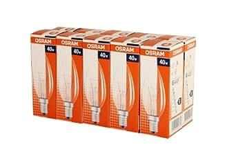 10 x Osram Classic B Glühlampe Glühbirne Kerze 40W E14 klar