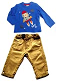 Baby Boy Clothes Blue Rocket Applique Top and Gold Chinos Set 6-9 months