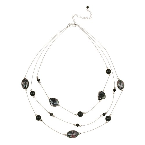 Sterling Silver and Multi Black Bead Illusion Necklace, 16+3