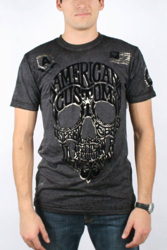 Affliction - Mens Ac Wordskull 50/50 Crewnk T T-Shirt In Charcoal Burnout Wash, Size: Medium, Color: Charcoal Burnout Wash