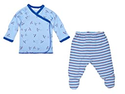 UNDER THE NILE APPAREL Baby-Boys Newborn Layette Set, White/Blue, 3-6 Months