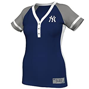 MLB New York Yankees Ladies Diamond Diva Fashion Top, Navy Grey White by Majestic