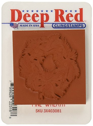 Deep Red Stamps Pine Wreath Rubber Stamp - 1