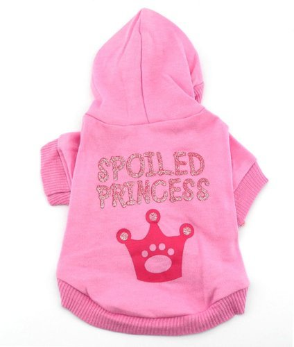 Pink Hoodie Hooded Christmas T Tee Shirt Small Dog Clothes Costume - Spoiled Princess Xs