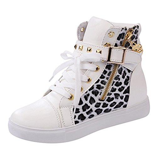 T&Grade Womens Fashion Comfortable Skull Lace Up Buckle Zipper Skull Sports Canvas Sneakers Shoes(8.5 B(M) US, Whiteleopard)