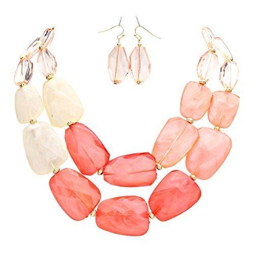 rosemarie-collections-parure-collana-e-orecchini-da-donna-in-resina-colore-sfumature-di-corallo