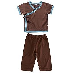 Baby Soy s/s Kimono Tee and Slip On Pants Set in Chocolate (Ocean Trim) (6-12M)