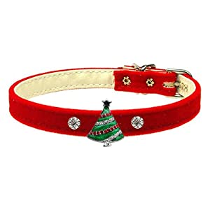 Mirage Pet Products Christmas Tree Charm Collar for Dogs, 10-Inch, Red Velvet