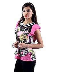 Envy Women's Georgette Round Neck Tops (03620PINKNA, Pink, Free Size)