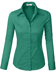 Romano Women's Best Selling Tailored Long Sleeve Button Down Shirt with Stretch