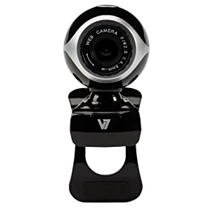 V7 Professional Webcam with Built in Mic for Skype, Messenger, Windows Live, and Yahoo Video on Laptops and Desktop PC's (CS0300-1N) - Black