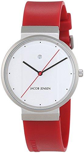 Montre Mixte Jacob Jensen Quartz - Affichage Analogique bracelet caoutchouc Rouge et Cadran Blanc JACOB JENSEN NEW SERIES ITEM NO. 751