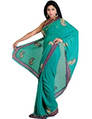 Exotic India Cadmium-Green Wedding Sari With Beaded Paisleys And Contras - Green