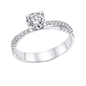 IGI Certified 14k white-gold Round Cut Diamond Engagement Ring (0.65 cttw, E Color, SI1 Clarity)