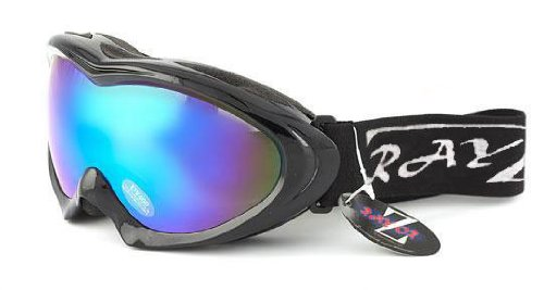 2012 Rayzor Professional UV400 Double Lensed Ski / SnowBoard Goggles, With a Black Frame and an Anti Fog Coated, Blue Iridium Mirrored Anti-Glare Wide Vision Clarity Lens.