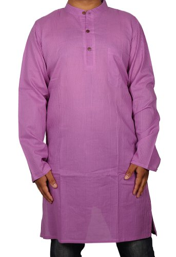 Designed Striped Casual Cotton Indian Long Mens Kurta Size XXL