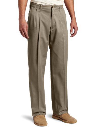 Lee Men's Big-Tall Comfort Waist Custom Fit Pleated Pant, Dark Olive, 46W x 28L (Men Plus Pants compare prices)