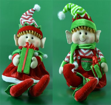 17 Chevron Hat Sitting Christmas Elves Set of 2