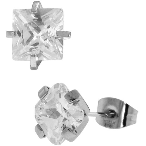 Inox Jewelry Princess Cut cz 316L Stainless Steel Stud Earrings