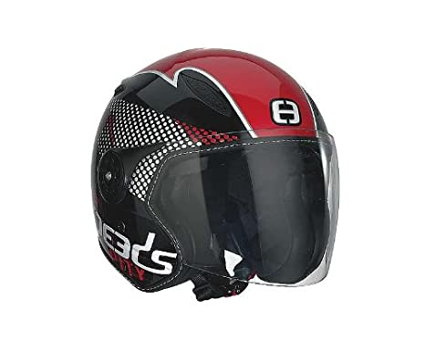Casque Speeds Jet City Design noir rouge brillant taille XL