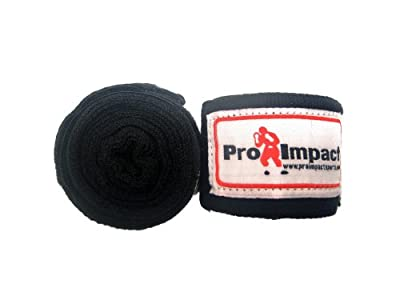 """Boxing/MMA Handwraps 180"""" Mexican Style Elastic 1 Pair BLACK from Pro Impact Sports"""