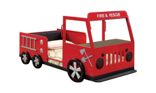 Furniture Of America Youth Fire Truck Design Metal Bed, Twin, Red And Black front-958191