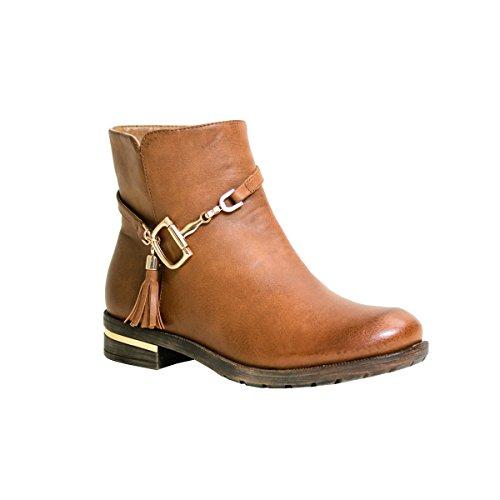 Reneeze Kay-01 Womens Ankle-High Side Tasseled Boots - Khaki, Size 6.5