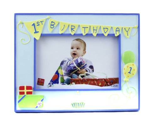 "Russ Berrie 1st Birthday 4"" x 6"" Photo Frame, Blue (Discontinued by Manufacturer)"