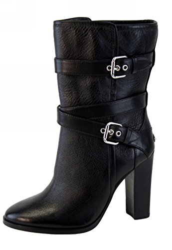 Coach Alexandra Buckle Ankle Bootie Black/Silver Leather Chunky High Heel Shoe
