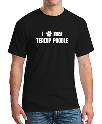 I PAW MY TEACUP POODLE Black Animal Supporter T-Shirt Tee Mens Clothing