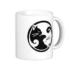 fiejkd 両面印刷 陰陽猫のホワイトマグカップ