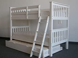 Bedz King Bunk Bed with Twin Trundle, Twin Over Twin Mission Style, White