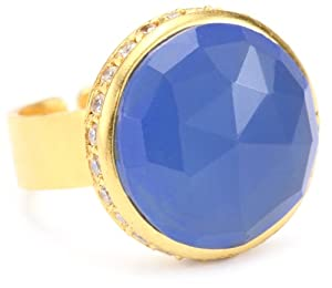 """Coralia Leets Jewelry Design """"Riviera Collection"""" Pave Round Adjustable Ring, Deep Blue Chalcedony"""
