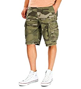 Survivor Camo Cargo Shorts-Gold Olive Camo