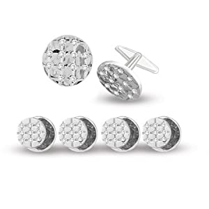 Round Shaped Formal Tuxedo Studs Set with Crystals