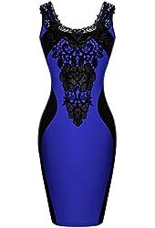 Zeagoo Women's Sleeveless Lace Neck Dress Evening Cocktail Party Dress