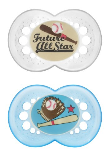 MAM Sports Silicone Pacifier, Baseball, 6 Plus Months, 2-Count