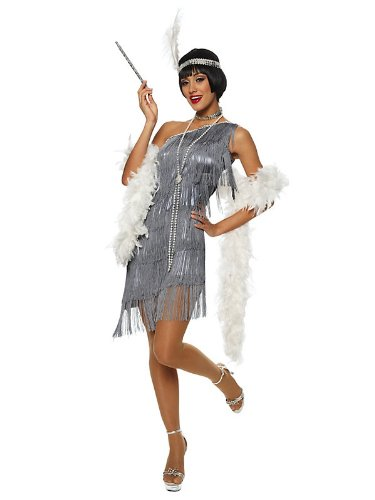 Dazzling Flapper Silver Great Gatsby 20's Fancy Dress Womens Halloween Costume S