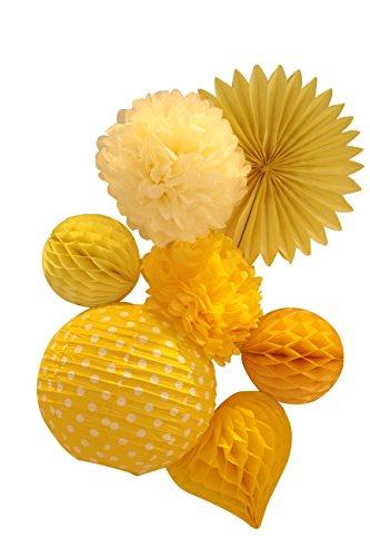 SUNBEAUTY Serie 7 pezzi pacchetto giallo Pompon fiore di carta & Ventilatore & Palla & Lanterna appendere le decorazioni per la festa nuziale di compleanno di bambino di Pasqua