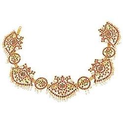 Natya Shastra Gold finish Kempu Mango waist jewellery (kamarband) for Women