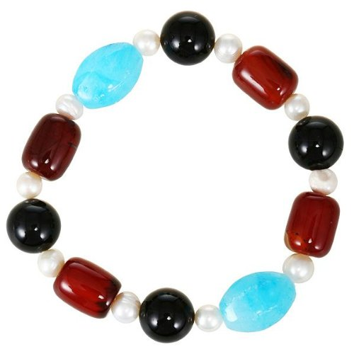 EXP White Freshwater Pearl, Red Agate And Decorative Black And Blue Beads Bracelet