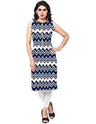 AHALYAA Blue Colored Sleeveless And Round Neck Faux Crepe Kurti