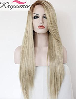 K'ryssma Christmas Ombre Heat Resistant Fashion Blonde Women Lace Front Wigs 2 Tones Straight Synthetic Hand Tied Fiber Hair