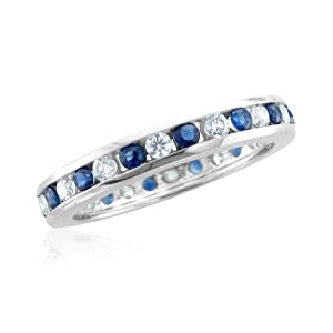 Natural Sapphire Diamond Eternity Ring in Channel Set Platinum Band (G, SI1-SI2, 1.35 cttw) Certificate of Authenticity